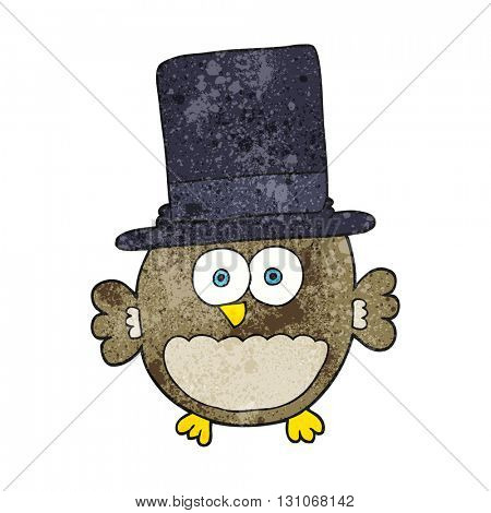 freehand textured cartoon owl in top hat