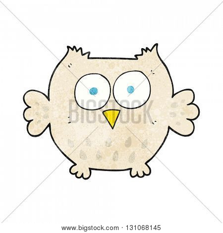 freehand textured cartoon happy owl