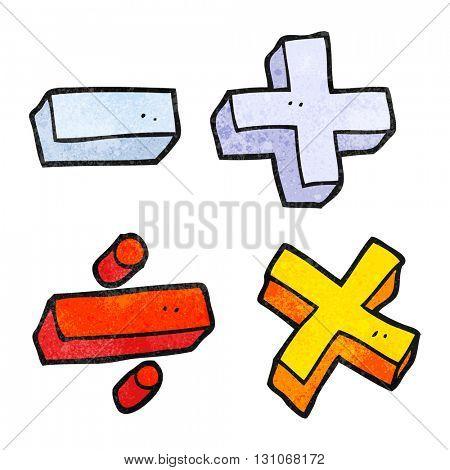 freehand textured cartoon math symbols