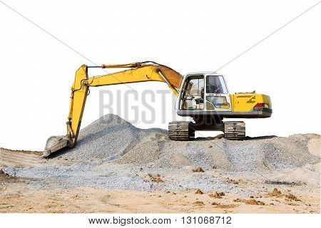 Excavator parked on the mound on white background.