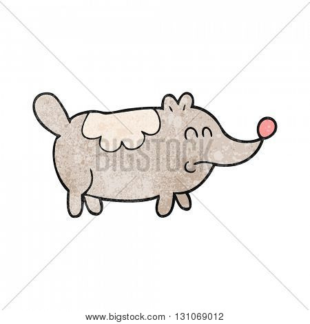 freehand textured cartoon small fat dog