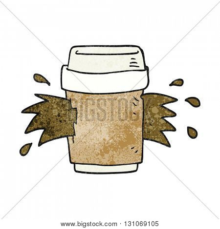 freehand textured cartoon exploding coffee cup