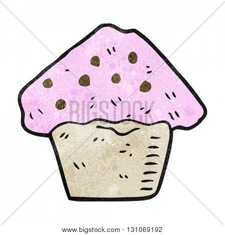 freehand textured cartoon strawberry muffin