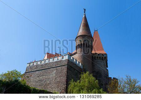 View of Corvin castle, a Gothic-Renaissance castle in Hunedoara, Romania