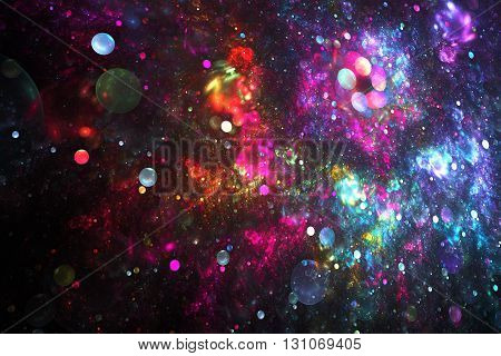 Bright nebula. Abstract colorful red blue pink and purple drops on black background. Fantasy fractal texture for postcards or t-shirts.