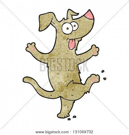 freehand textured cartoon dancing dog