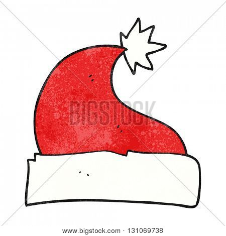 freehand textured cartoon christmas hat