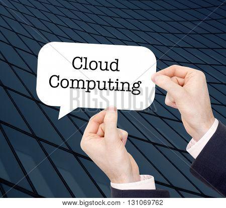Cloud computing written in a speechbubble