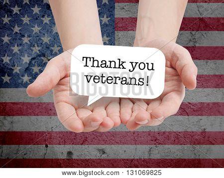 Thanks veterans written on a speechbubble