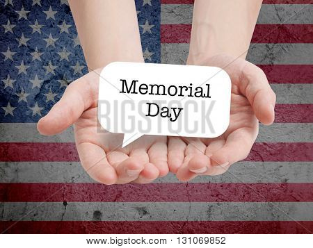 Memorial Day written on a speechbubble