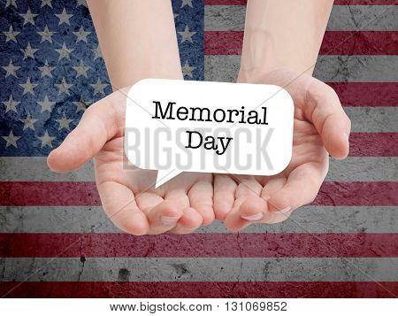 Memorial Day written on a speechbubble