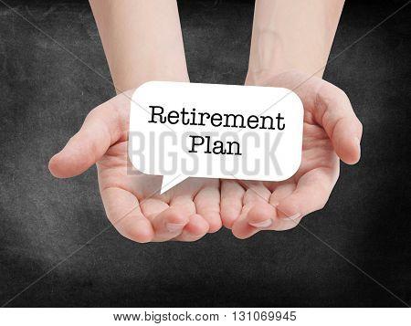 Retirement written on a speechbubble