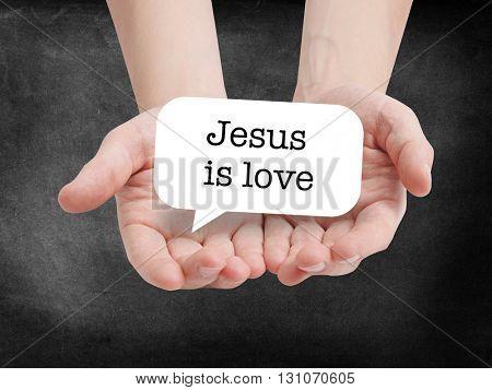 Jesus is love written on a speechbubble