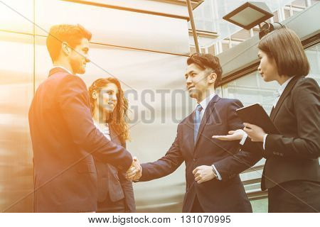 Group of business team shaking hand