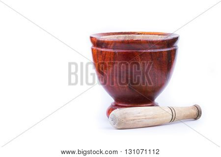 Wooden Mortar And Pestle Isolated On White Background