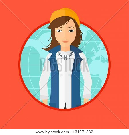 A business woman standing on a world map background. Business woman taking part in global business. Global business concept. Vector flat design illustration in the circle isolated on background.