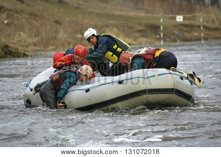 Beklenischevo, Russia - April 29, 2006: Rafting as extreme and fun sport