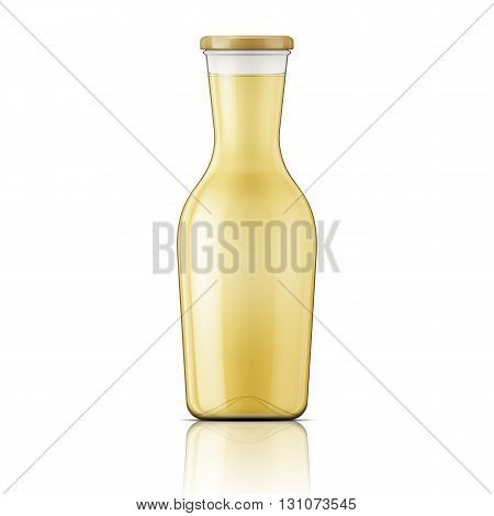 Transparent glass bottle with wide neck for wine, juice, oil. Screw cap. Package collection.