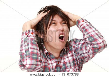 portrait of demented man on white background