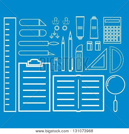 White thin line icon office tool and equipment on workplace. Vector illustration modern design business office tool flat icon.