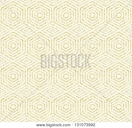 Geometric repeating ornament with golden dotted hexagons. Seamless abstract modern pattern