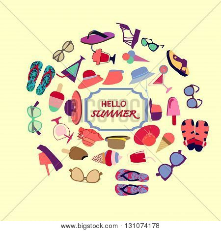 Summer background with summer accessories. Summer concept. Vector colorful collection of summer shopping theme. Fashion boutique Summer sales background