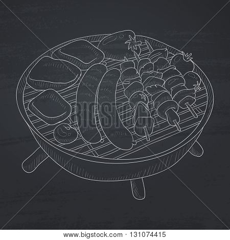 Assorted delicious grilled meat with vegetable on a barbecue grid. Grilled meat hand drawn in chalk on a blackboard. Grilled meat vector sketch illustration.