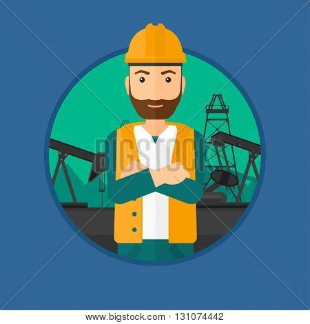 A hipster oil worker in uniform and helmet standing with crossed arms on pump jack background. Vector flat design illustration in the circle isolated on background.