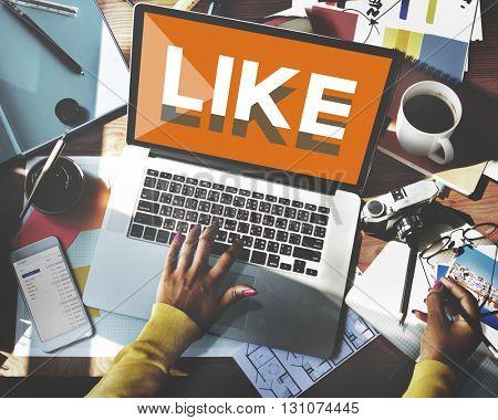 Browsing Network Internet Like Social Media Concept