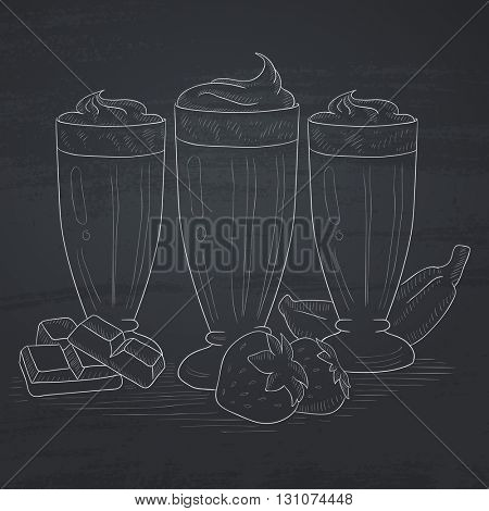 Banana, strawberry and chocolate smoothies. Smoothies hand drawn in chalk on a blackboard. Smoothies vector sketch illustration.