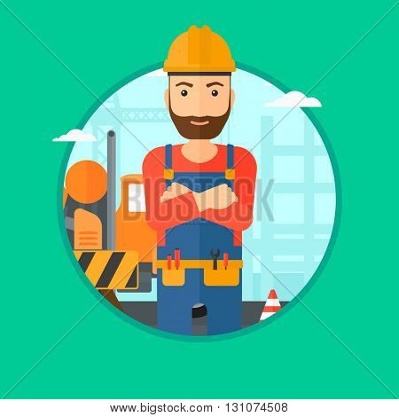 A confident hipster builder with the beard standing with arms crossed on a background of construction site. Vector flat design illustration in the circle isolated on background.