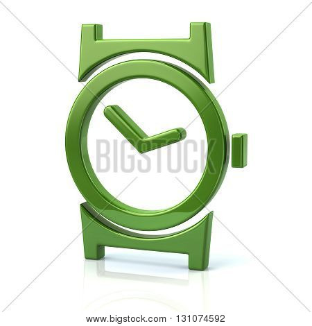 3d illustration of green watch icon isolated on white background