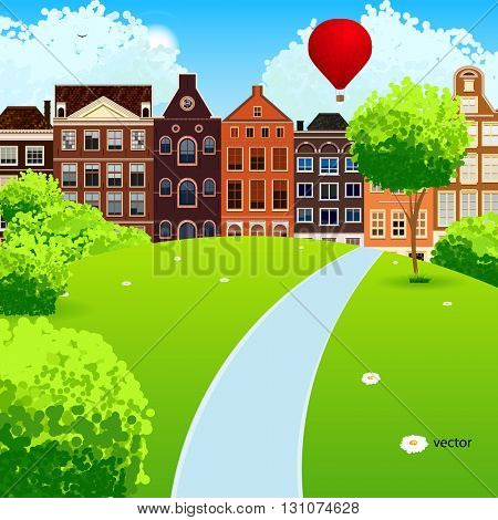 Landscape with a road to the cozy town. Vector background.