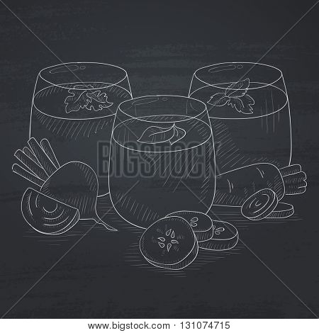 Freshly squeezed vegetable juices from cucumber, beet and carrot. Squeezed vegetable juices hand drawn in chalk on a blackboard. Squeezed vegetable juices vector sketch illustration.