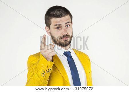 Businessman Gives A Warning, Threatening Finger