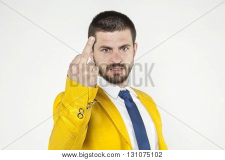 Businessman Shows The Middle Finger
