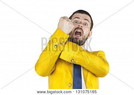 Businessman Does Gesture Kozakiewicza