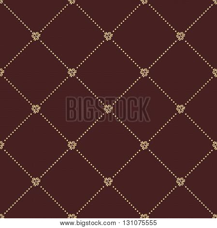 Geometric repeating ornament with golden diagonal dotted lines. Seamless abstract modern golden pattern