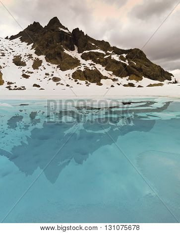 Frozen Lake and Mountain Peak, Alpine Lakes Wilderness Washington