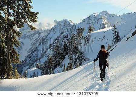 Hiker Among Snowy Mountains, Mt Baker Snoqualmie National Forest, Washington