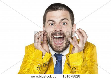 Crazy Businessman Screaming Like A Man Possessed