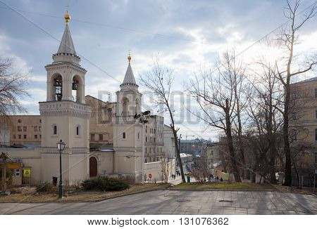 MOSCOW - APRIL 4: Ivanovsky Conventl in Maly Ivanovsky Street on April 4 2016 in Moscow. It is the main shrine of St. John the Baptist in the Russian capital.
