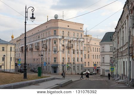 MOSCOW - APRIL 4: Iron House on Khitrovskaya Square on April 4 2016 in Moscow. Vladimir Giljarovsky wrote about this house in the