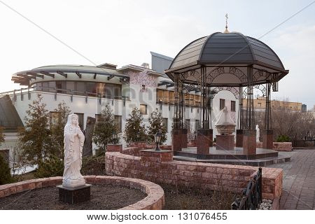 MOSCOW - APRIL 4: The statue and gazebo in the yard of Peter and Paul Cathedral in the Petropavlovsky Street on April 4 2016 in Moscow. Petropavlovsky Street is located in the center of Moscow.