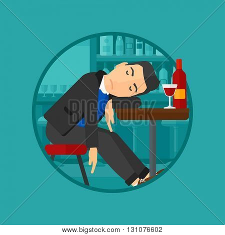 A drunk man deeply sleeping near the bottle of wine and a glass on a table in pub. Alcohol addiction concept. Vector flat design illustration in the circle isolated on background.