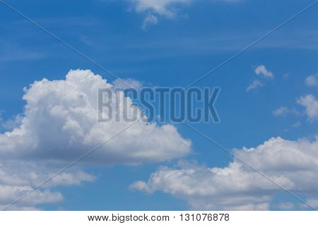 Fluffy Cloud On Clear Blue Sky Background