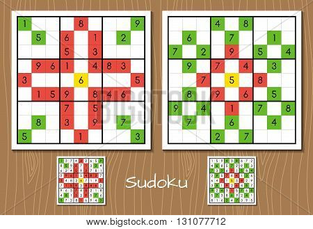 Sudoku. Vector set of two hard level sudoku game