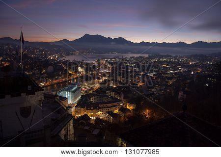 Aerial view over Luzern (Lucerne) at sunrise Switzerland