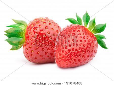 Two perfectly cleaned strawberries with leaves isolated on the white background with clipping path