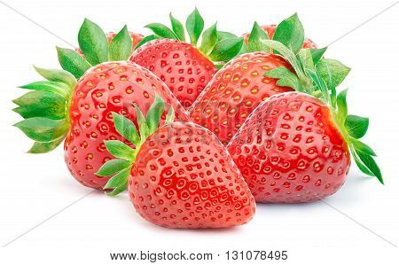 Seven perfectly cleaned strawberries with leaves isolated on the white background with clipping path